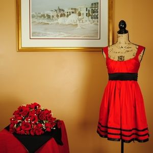 Jodi Kristopher Red Dress w/ Black Accent